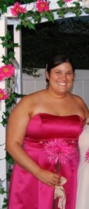 Maid of Honor in my cousin's wedding. That dress fit then, but became too small quickly. I'm hoping at this point it would be too BIG!